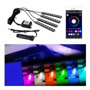 9led Car Interior Neon Smart Phone App Control Colorful Rgb Floor Light Strip Se