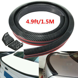 Universal Carbon Fiber Look Auto Car Rear Roof Trunk Spoiler Wing Lip 4 9ft 1 5m