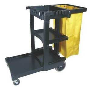 Janitor Cart black 1 Shelf 38 3 8 In H Rubbermaid Fg617388bla