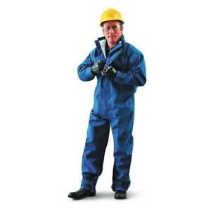 Flame Resistant Coverall Blue Nomex Kevlar P140 L Ansell 66 677
