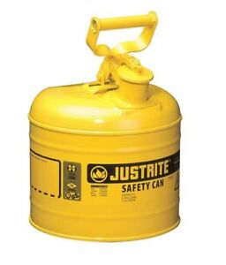 Justrite 7120200 2 Gal Yellow Steel Type I Safety Can For Diesel
