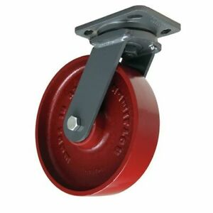 Plate Caster swivel cast Iron 8 In 1500 Lb b S wh 8mb