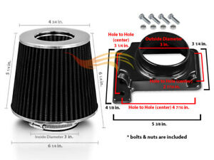 Black Cone Dry Filter Air Intake Maf Adapter Kit For 95 99 Eclipse Talon Turbo