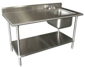 Advance Tabco Kms 11b 306r Scullery Sink With Left Work Table Floor