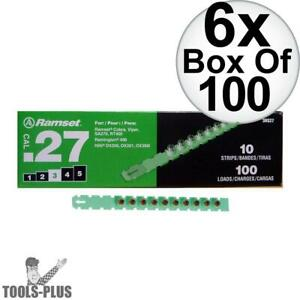 Ramset 3rs27 6pk 10 Strips Of 10 600 Total 3 green 27 Cal Strip Loads New