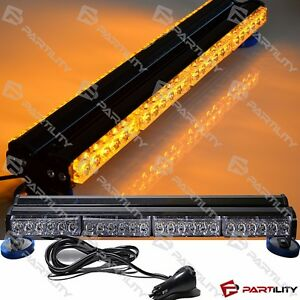 25 Inch 144w Led Amber Light Magnet Warn Strobe Flashing Bar Hazard Roof Yellow
