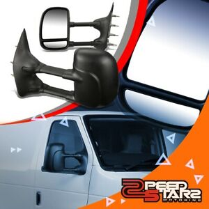 Black Manual Towing Mirrors W o Heated telescopic Arm For 03 14 Ford E Series