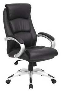 Zoro Select 36fk01 Executive Chair Leather Black Height 43 1 4 To 46 1 4