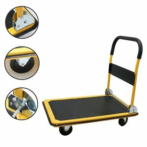 New Platform Cart Folding Dolly Moving Push Hand Truck Warehouse 330lbs Yellow