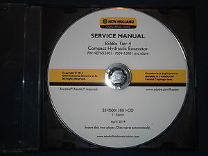 New Holland E55bx Tier 4 Excavator Service Shop Repair Manual Cd