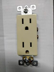 50 Pc Decorator Duplex Receptacle 15 Amp Ivory 15a Decora Outlet Self Grounding