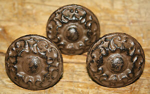 12 Cast Iron Antique Victorian Style Round Drawer Pull Barn Handle Door Handles