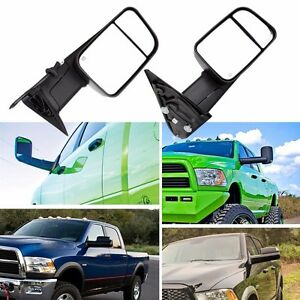2 Tow Mirrors Power Heated Led Signal For Dodge Ram 1500 02 08 2500 3500 03 09
