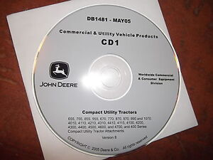 John Deere 655 755 855 955 870 4000 Series Tractor Technical Repair Manual Cd