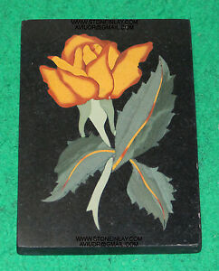 Marble Inlay Pietra Dura Rose Flower Plaque Wall Decorative Collectible Antique