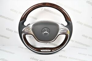 Mercedes Benz Amg S Class W222 S550 Brown Wood Leather Mlf Dsg Steering Wheel