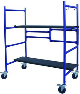 Pro Series Roll And Fold Mini Scaffold Steel Deck Cart Two Adjustable Height New
