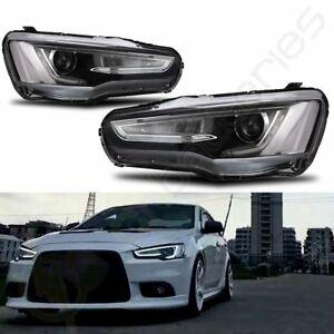 2x Led Drl Projector Headlights For Mitsubishi Lancer Evo X 2008 2017 Dual Beam