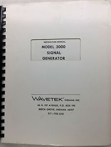 Wavetek 3000 Signal Generator Instruction Manual P n 6510 00 0022