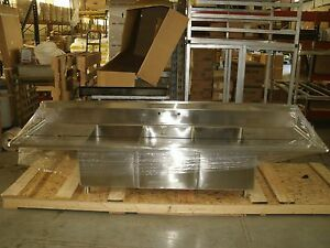 3 Compartment Stainless Steel Commercial Sink With Drain Boards