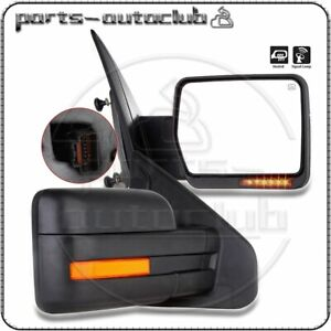 Left Right For 07 14 Ford F150 Power Heated Led Signal Puddle Light Side Mirrors