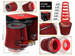 Red Universal Inlet Air Intake Cone Open Top Dry Replacement Filter For Mitsu