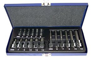 18pc Long Short Hex Bit Socket Set 1 4in 1 2in Drive Metric Allen Wrenc
