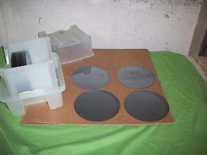 Boat Of 14 Silicon Test Wafer Slices Notched semiconductor Blue Polished