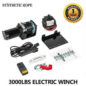 12v 3000lb Atv Utv Winch Kit With 50 Feet Synthetic Rope With Wireless Remote