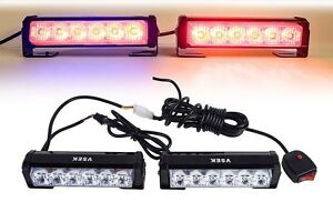 2pcs 6 Led Red Emergency Wraning Grill Light Deck Dash Strobe Marker Light