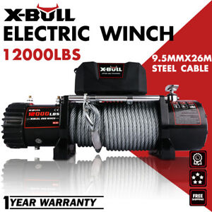 X Bull 12000lbs 12v Electric Winch Steel Cable Truck Trailer Towing Off Road 4wd