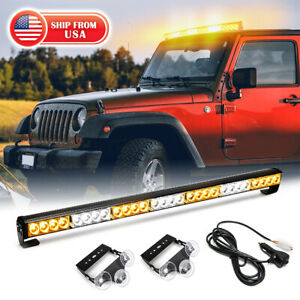 32 28 Led Traffic Advisor Emergency Hazard Warning Strobe Light Bar Amber White