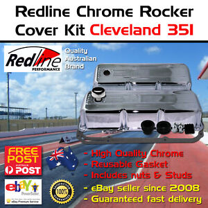 Chrome Very Tall Rocker Valve Covers Fits Cleveland 302 351 Kit Cap Gasket Studs
