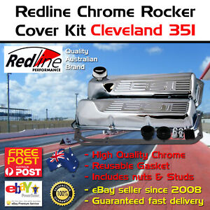 Chrome Logo Tall Rocker Valve Covers Fits Cleveland 302 351 Kit Cap Gasket Studs