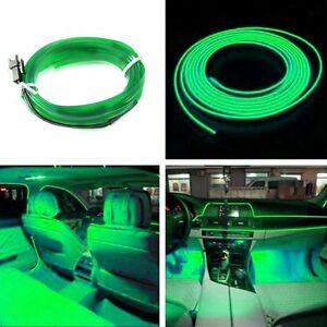 2m Car Auto Interior Led Decorative Wire Strip Atmosphere Cold Light Green