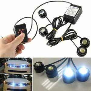4in1 White Eagle Eye Led Car Suv Strobe Warning Grille Light Drl