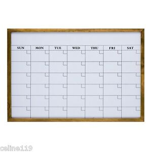 31 X 22 Monthly Dry Erase Calendar Message White Board With Wood Frame