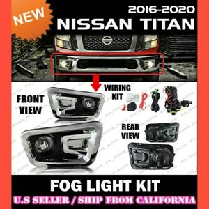 For 16 17 18 Nissan Titan Fog Light Driving Lamp Kit W switch Wiring clear