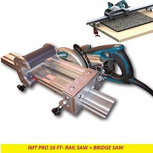 Imt Pro Wet Cutting Makita Motor Rail Bridge Saw Combo For Granite 16 Ft Rail