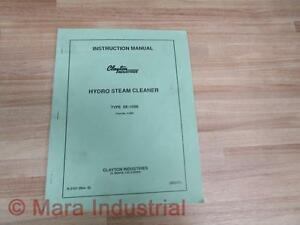 Clayton Industries 062777 Hydro Steam Cleaner Manual Se 150b S 809