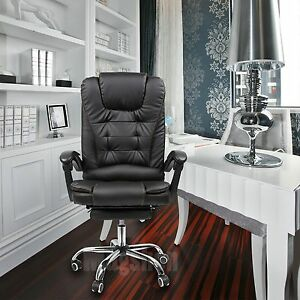 Pu Leather Computer Office Desk Task Chair Armrest Footrest Swivel Chairs Black