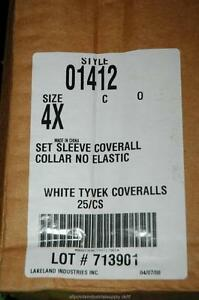 25 Lakeland Style 1412 Tyvek White Coveralls Size 4x Ty120s Zip Front