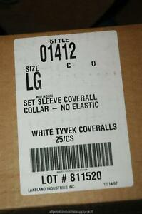 25 Lakeland Style 1412 Tyvek White Coveralls Size Large Lg Ty120s Zip Front