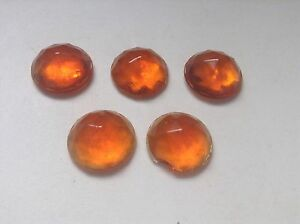 Vintage 5 Lot Nos Amber Orange Jewel Cut Reflectors 7 8 License Plate Topper