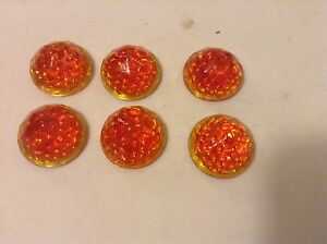 Vintage 6 Lot Amber Orange Nos Jewel Cut Reflectors 7 8 License Plate Topper