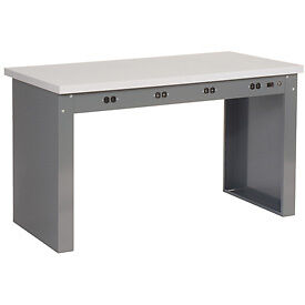 72 w X 36 d Panel Leg Workbench With Power Apron And Plastic Laminate Square