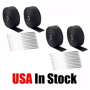 4 Rolls 2 50ft Black Fiberglass Exhaust Header Pipe Heat Wrap Tape 40 Ties Kit