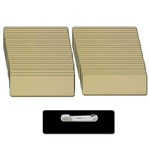 50 Blank 1 1 4 X 3 Gold Name Badge Kit a Tags 1 8 Corners Pins Clear Labels