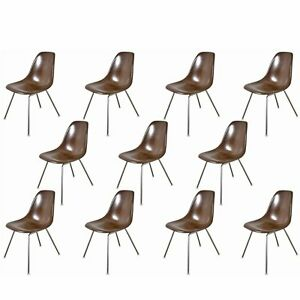 1960s Charles And Ray Eames Brown Fiberglass Shell Chairs For Herman Miller
