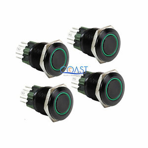 4x Durable 12v 25mm Car Push Button Green Angel Eye Led Momentary Light Switch